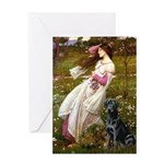 Windflowers & Black Lab Greeting Card