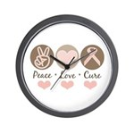 Peace Love Cure Pink Ribbon Wall Clock