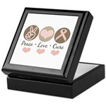 Peace Love Cure Pink Ribbon Keepsake Box