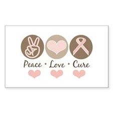 Peace Love Cure Pink Ribbon Rectangle Decal
