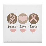 Peace Love Cure Pink Ribbon Tile Coaster