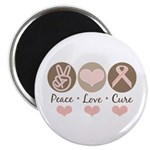 Peace Love Cure Pink Ribbon Magnet
