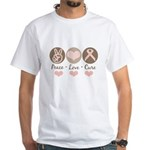 Peace Love Cure Pink Ribbon White T-Shirt