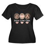 Peace Love Cure Pink Ribbon Women's Plus Size Scoo