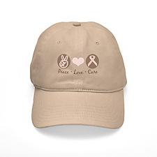 Peace Love Cure Pink Ribbon Baseball Cap