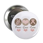 Peace Love Cure Pink Ribbon Button
