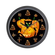 Black Cat and Pumkins Wall Clock