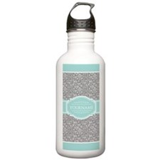 Mint and Gray Hearts P Water Bottle