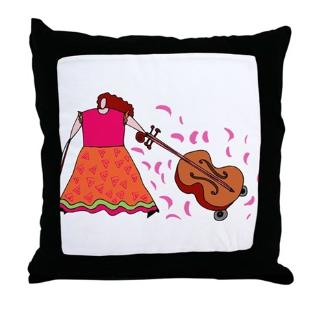 Funny Cello Player Throw Pillow