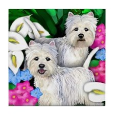 WEST HIGHLAND TERRIER dogs callas Tile Coaster