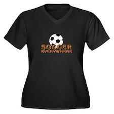 Soccer Everywhere Women's Plus Size V-Neck Dark T-