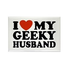 I Love My Geeky Husband Rectangle Magnet