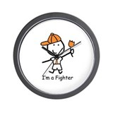 Orange Ribbon - Fighter Boy Wall Clock