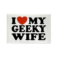 I Love My Geeky Wife Rectangle Magnet