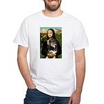 MonaLisa-Aussie Shep (Tri-L) White T-Shirt