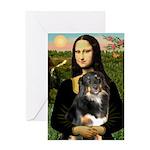 MonaLisa-Aussie Shep (Tri-L) Greeting Card