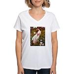 Windflowers-AussieShep (L) Women's V-Neck T-Shirt