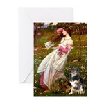 Windflowers-AussieShep (L) Greeting Cards (Pk of 1