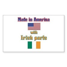 Made in American with Irish p Sticker (Rectangular