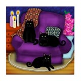 3 BLACK CATS Tile Coaster