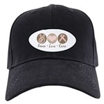 Peace Love Cure Pink Ribbon Black Cap