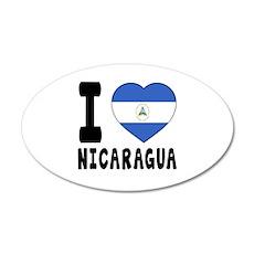 I Love Nicaragua 35x21 Oval Wall Decal