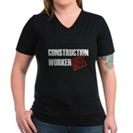 Off Duty Construction Worker Women's V-Neck Dark T