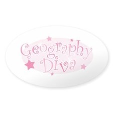 """Geography Diva"" [pink] Oval Decal"