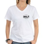 MILF Euro Oval Women's V-Neck T-Shirt