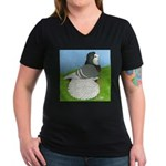Opal Trumpeter Pigeon Women's V-Neck Dark T-Shirt