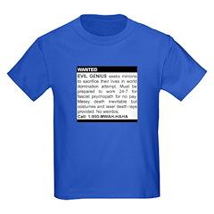 Evil Genius Personal Ad Kids Dark T-Shirt