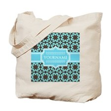 Turquoise and Brown Pattern Personalized Tote Bag