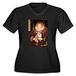 The Queen's Corgi Women's Plus Size V-Neck Dark T-