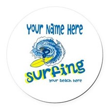 Surfing Round Car Magnet
