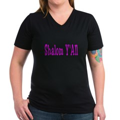 Shalom Y'all Women's V-Neck Dark T-Shirt