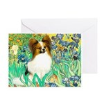 Irises / Papillon Greeting Card