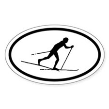 Cross Country Skier Oval Decal