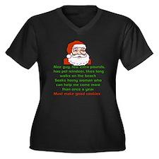 Santa's Personals Ad Women's Plus Size V-Neck Dark