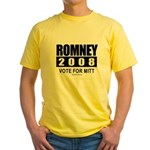 Romney 2008: Vote for Mitt Yellow T-Shirt