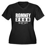 Romney 2008: I'm wit Mitt Women's Plus Size V-Neck