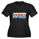 Romney 2008 Women's Plus Size V-Neck Dark T-Shirt