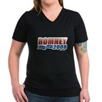 Romney 2008 Women's V-Neck Dark T-Shirt