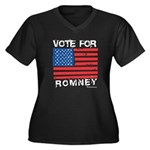Vote for Romney Women's Plus Size V-Neck Dark T-Sh