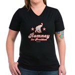 Romney for President Women's V-Neck Dark T-Shirt