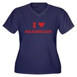 I LOVE MAXIMILIAN Women's Plus Size V-Neck Dark T-