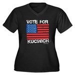 Vote for Kucinich Women's Plus Size V-Neck Dark T-