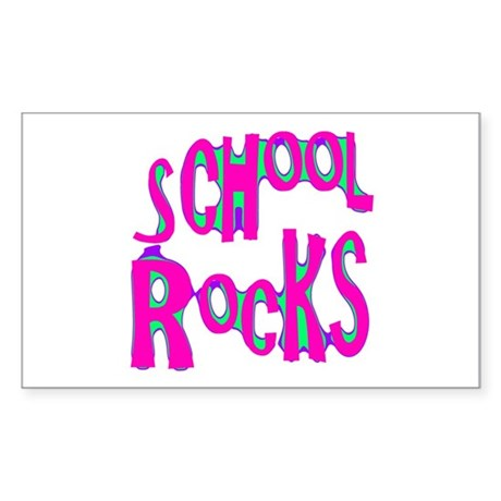 School Rocks - Hot Pink Rectangle Sticker