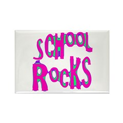 School Rocks - Hot Pink Rectangle Magnet (100 pack