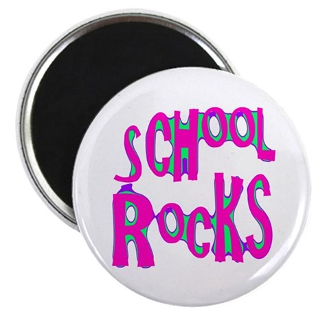 School Rocks - Hot Pink 2.25&quot; Magnet (10 pack)