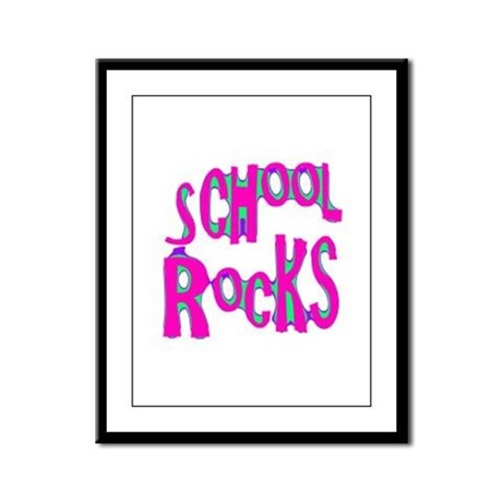 School Rocks - Hot Pink Framed Panel Print